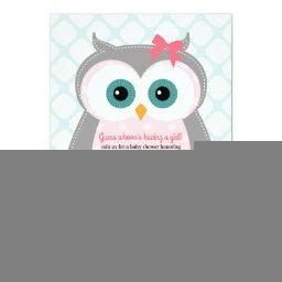 Owl baby shower  for girls mint pink