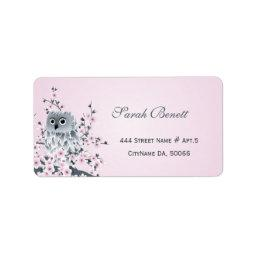 Owl Cherry Blossoms  Label