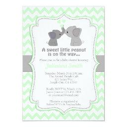 Pale Lime Elephant Baby Shower Invitation Chev 473