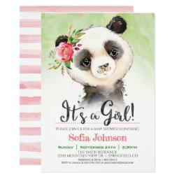 Panda Girl Baby Shower Invitation