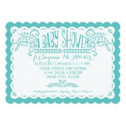 Papel Picado Baby Girl Shower Pink Aqua Fiesta Invitation