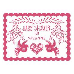 Papel Picado Baby Girl Shower Pink Orange Fiesta