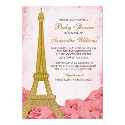 Paris Eiffel Tower Roses Pink Gold Baby Shower