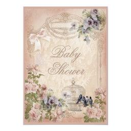 Parisian Birdcage, Birds And Flowers Baby Shower Invitations