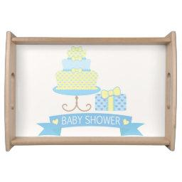 Pastel Blue & Pale Yellow Heart Cake Baby Shower Serving Tray