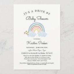 Pastel Rainbow Drive By Baby Shower Invitation Boy