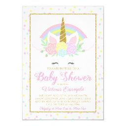 Pastel Unicorn Rainbow Baby Girl Shower