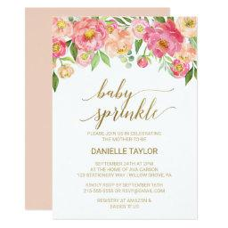 Peach and Pink Peony Flowers Baby Sprinkle
