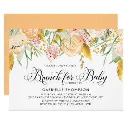 Peach Flowers and Gold Leaves Baby Shower Brunch