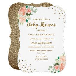 Peach Gold Floral Confetti Baby Shower