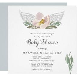 Peach Watercolor Florals Angel Wings Baby Shower