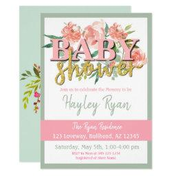 Peaches and Cream Floral Mint Floral Baby Shower