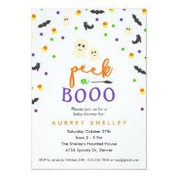 Peek A Booo Halloween Themed Baby Shower Invitation