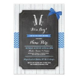 Penguin Blue Baby Shower Party Boy Wood Invite