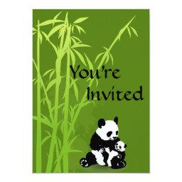 Personalized Panda Bear, Bamboo  Invite