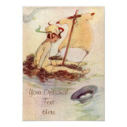 Peter Pan On Nest Raft - Baby Invitation