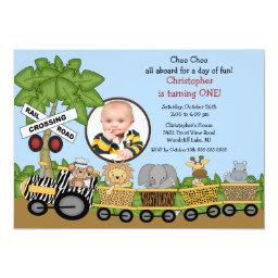 Photo Safari Jungle Train Birthday Invitations