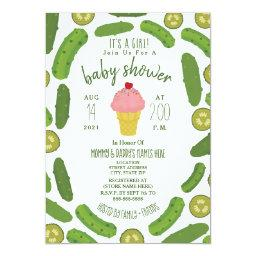 Pickles And Ice Cream Baby Shower Invitation