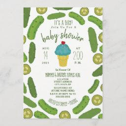 Pickles And Ice Cream Boy Baby Shower Invitation