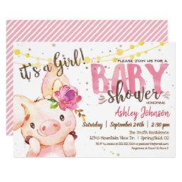 Pig Baby Shower Invitation, Girl Farm Invitation