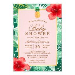 Pineapple Blush Pink Tropical Baby Shower
