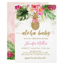 Pineapple Tropical Floral Aloha Baby Shower Invitation