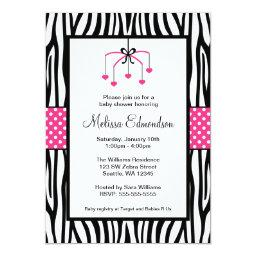 Pink and Black Zebra Heart Mobile Baby Shower