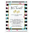 Pink And Blue Gold Footprints Twins Baby Shower Invitations