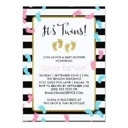 Pink and Blue Gold Footprints Twins Baby Shower