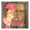 Pink And Brown Cowgirl Baby Shower Invitation