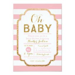 Pink And Gold  Invitation, Baby Girl