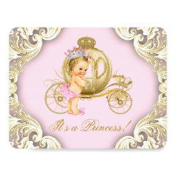 Pink and Gold Carriage Girls Princess Baby Shower