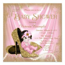 Pink And Gold Glitter Shoe Pearl Baby Shower Invitations