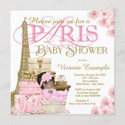 Pink And Gold Paris Ethnic Girl Baby Shower Invitation