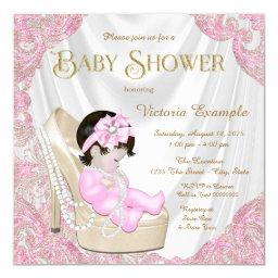 Pink and Gold Pearl Shoe Baby Shower