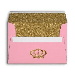 Pink And Gold With Roycrown Glitter Lined Envelope