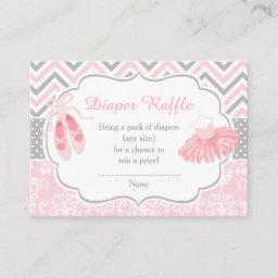 Pink And Gray Chevron Ballerina Baby Diaper Raffle Enclosure Card