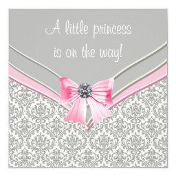 Pink And Gray Damask Pink Bow Princess Baby Shower Invitations