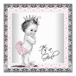 Pink and Gray Vintage Baby Girl Shower