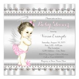 Pink And Silver Angel Baby Shower Invitation