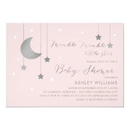 Pink And Silver Moon And Stars Baby Shower