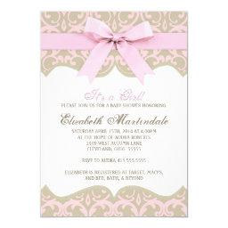 Pink and Taupe Damask Baby Shower