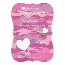 Pink Army Camo Baby Shower Invitationss With Hearts