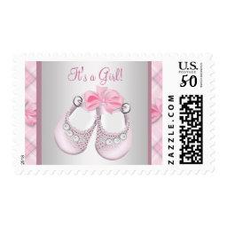 Pink Baby Shoes Baby Girl Shower Postage Stamps