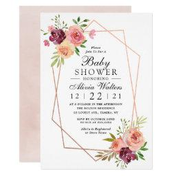 Pink Baby Shower Geometric Rose Gold Floral Invitation