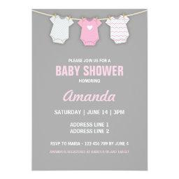Pink Baby Shower Invitation, Clothesline Theme