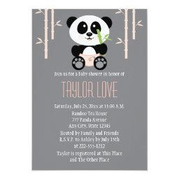 Pink Bamboo Panda In Diapers Baby Shower Invitation