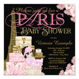 Pink Black And Gold Paris Baby Shower