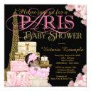 Pink Black And Gold Paris Ethnic Girl Baby Shower Invitation