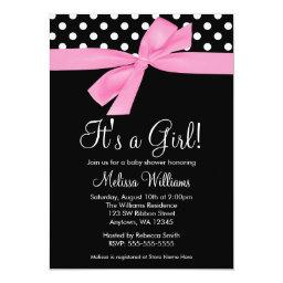 Pink Black Bow Polka Dot Baby Shower